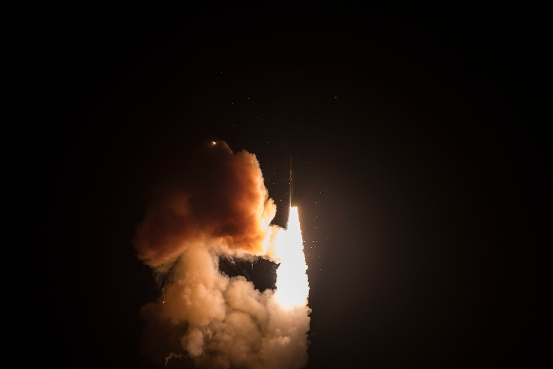 An unarmed Minuteman III intercontinental ballistic missile launches during a developmental test at 12:33 a.m. Pacific Time Wednesday, Feb. 5, 2020, at Vandenberg Air Force Base, Calif. (U.S. Air Force photo by Airman 1st Class Hanah Abercrombie)
