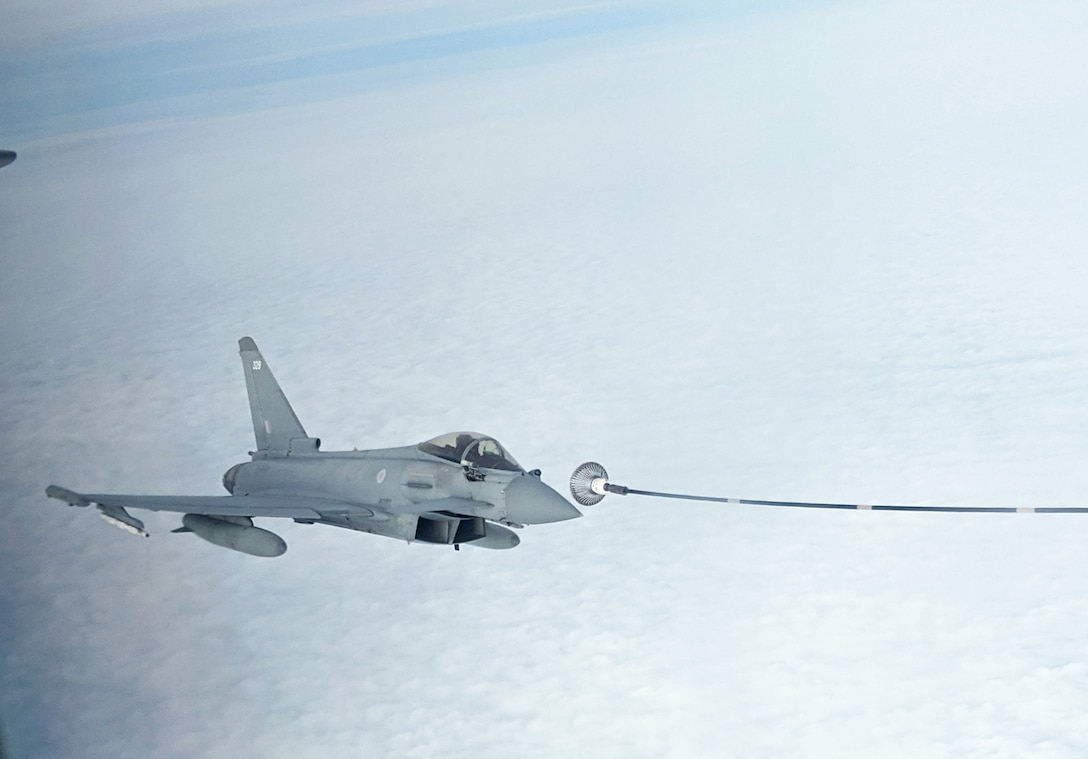 A Royal Air Force Typhoon from RAF Coningsby, England, is refueled by a KC-135 Stratotanker from the 100th Air Refueling Wing, RAF Mildenhall, England, during exercise Point Blank off the English coast, Jan. 30, 2020. Point Blank is a recurring, low-cost exercise initiative designed to increase tactical proficiency of U.S. Air Forces in Europe – Air Forces Africa and Ministry of Defence forces. (U.S. Air Force photo by Tech. Sgt. Emerson Nuñez)