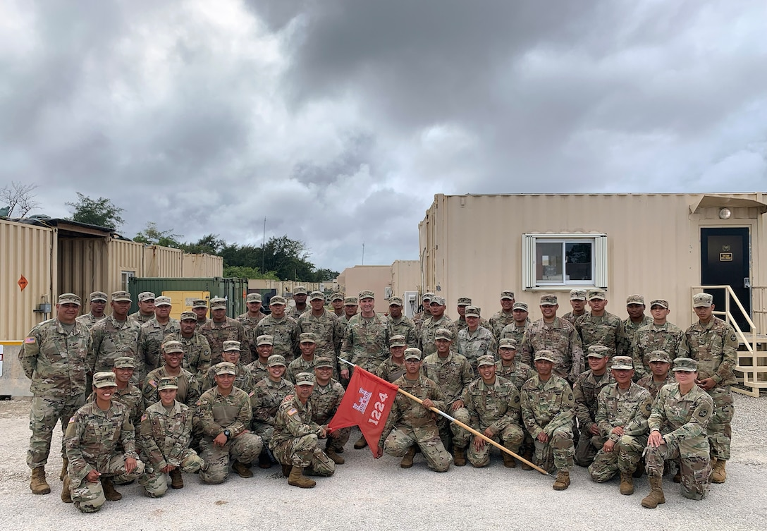 """U.S. Air Force Gen. Joseph Lengyel, chief, National Guard Bureau, visits troops serving with the 1224th Engineer Support """"Hita"""" Company, Guam Army National Guard, Guam, Jan. 29, 2020. The troops are serving as security forces for priority assets. This image was acquired using a cellular phone. (U.S. Army National Guard photo by Sgt. 1st Class Jim Greenhill)"""