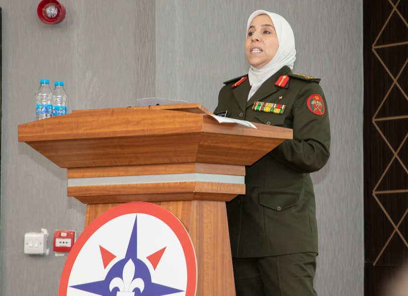 Jordan Armed Forces-Arab Army Col. Maha Al-Nasser, director of Military Women's Affairs in Jordan, speaks during a Gender Integration Working Group hosted by the Civil Liaison Team-Jordan, Civil Affairs Support Detachment-U.S. Army Central, Jan. 23, 2020 at Joint Training Center-Jordan. Jordan is not only one of the United States' closest allies in the region, but in the world as a whole. This is not going to change. (U.S. Army photo by Sgt. 1st Class Shaiyla B. Hakeem)