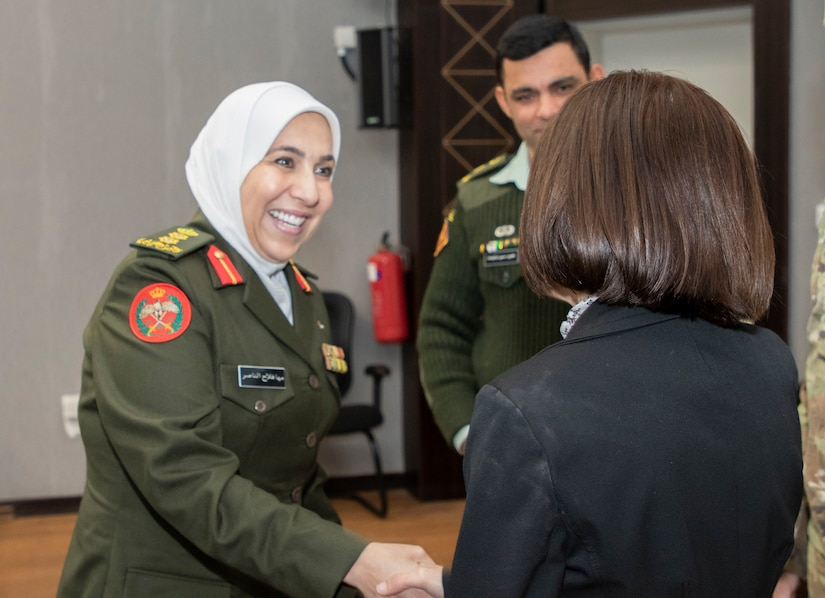 Jordan Armed Forces-Arab Army Col. Maha Al-Nasser (left), Director of Military Women's Affairs in Jordan, greets U.S. Air Force Col. Jennifer Garrison, 322 Expeditionary Medical Group commander, during a Gender Integration Working Group, hosted by the Civil Liaison Team-Jordan, Civil Affairs Support Detachment-U.S. Army Central, Jan. 23, 2020 at Joint Training Center-Jordan. Jordan is not only one of the United States' closest allies in the region, but in the world as a whole. This is not going to change. (U.S. Army photo by Sgt. 1st Class Shaiyla B. Hakeem)