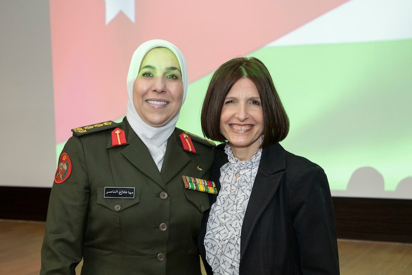 Jordan Armed Forces-Arab Army Col. Maha Al-Nasser (left), with director of Military Women's Affairs in Jordan, poses for a photo with U.S. Air Force Col. Jennifer Garrison, 322 Air Expeditionary Medical Group commander, during a Gender Integration Working Group hosted by the Civil Liaison Team-Jordan, Civil Affairs Support Detachment-U.S. Army Central, Jan. 23, 2020 at Joint Training Center-Jordan. Jordan is not only one of the United States' closest allies in the region, but in the world as a whole. This is not going to change. (U.S. Army photo by Sgt. 1st Class Shaiyla B. Hakeem)