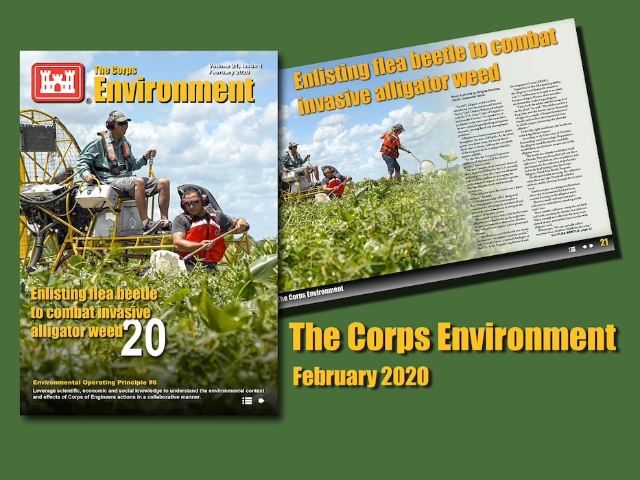 cover of the corps environment magazine showing a man riding a ... um some sort of vehicle with a very large fan at the back of it.