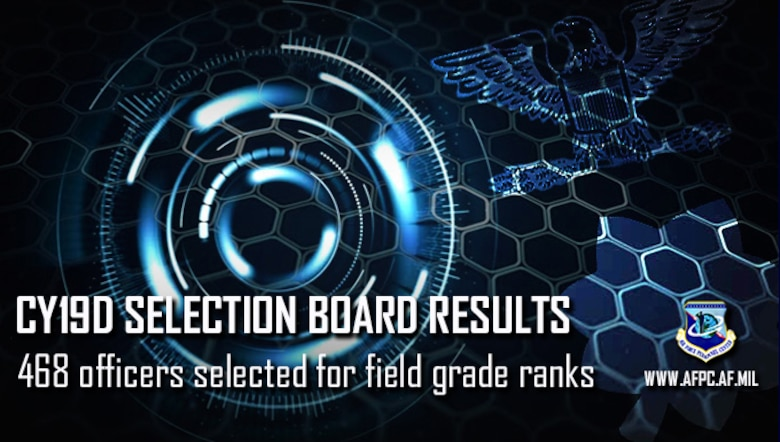 Blue graphic announcing the CY19D board results