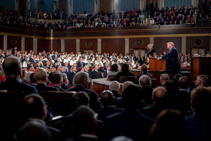President Donald J. Trump delivers his State of the Union address .