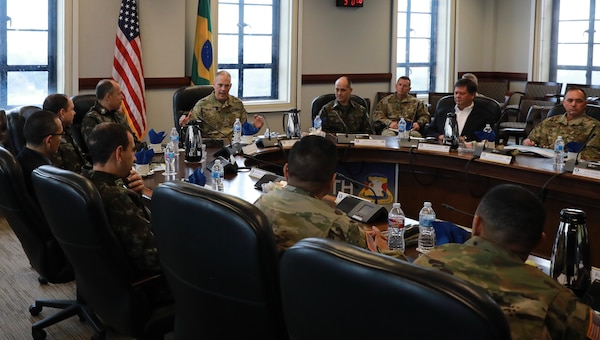 In preparation for this year's PANAMAX multinational exercise and upcoming combined training, U.S. Army South hosted Brazilian army Maj. Gen. Marcos De Sá Affonso Da Costa, Brazilian director of training, and Maj. Gen. Josias Pedrotti Da Rosa, Brazilian army attaché to the United States, and their delegation at Army South headquarters, Joint Base San Antonio-Fort Sam Houston, Feb. 4. PANAMAX will be held at the Joint Readiness Training Center at Fort Polk, Louisiana, and in Sao Paulo, Brazil.