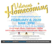 Joint Base Langley-Eustis, Virginia will host a Veterans Homecoming event at Fort Eustis, which will include food trucks, prizes and giveaways Feb. 8 from 9 a.m. to 2 p.m. in the Fort Eustis Commissary and the Army and Air Force Exchange Service parking lots. Early registration at Fort Eustis will begin at 8 a.m.