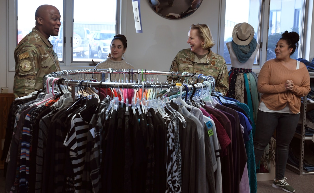 Col. Jennifer Reeves, 341st Missile Wing commander, and Chief Master Sgt. Ron Harper, 341st MW command chief, tour the thrift store renovations Feb. 3, 2020 at Malmstrom Air Force Base, Mont.
