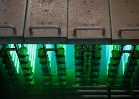 Ultraviolet lights sterilize E. coli and other bacteria in water Jan. 10, 2020, at the Luke Air Force Base Wastewater Plant in Ariz.