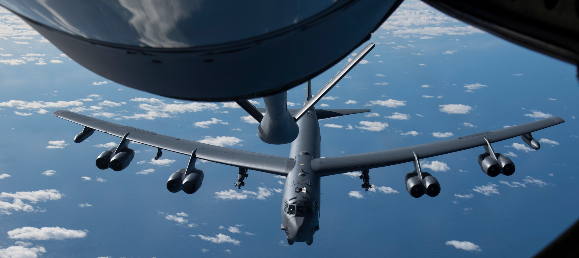 A U.S. Air Force B-52H Stratofortress, assigned to the 69th Expeditionary Bomb Squadron, deployed from Minot Air Force Base, North Dakota, receives fuel from a U.S. Air Force KC-135 Stratotanker assigned to the 191st Air Refuelling Squadron, Wright Air National Guard, Utah, after taking off from Andersen Air Force Base, Guam, Feb. 3, 2020. Continuous Bomber Presence deployments provide opportunities to advance and strengthen alliances, as well as strengthen long-standing military-to-military partnerships. (U.S. Air Force photo Airman 1st Class Helena Owens)