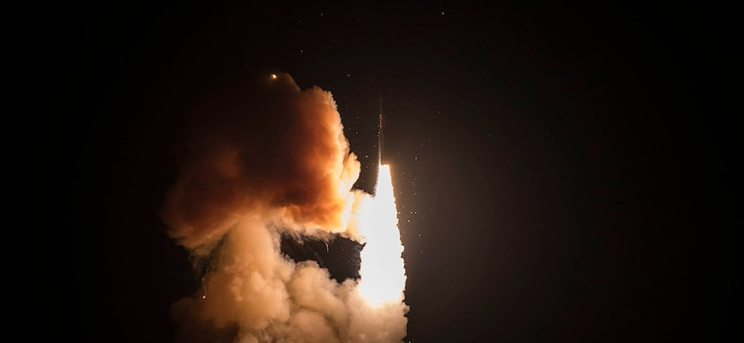 An unarmed Minuteman III intercontinental ballistic missile launches during a developmental test at 12:33 a.m. Pacific Time Wednesday, Feb. 5, 2020, at Vandenberg Air Force Base, Calif.