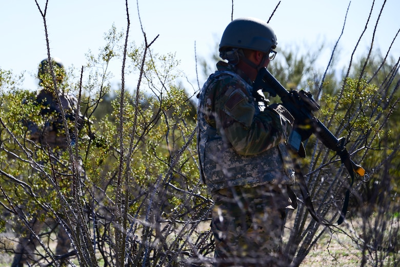 Airmen stand guard during exercise