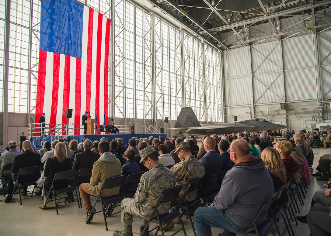 Maj. Gen. Christopher Azzano, Air Force Test Center Commander, gives remarks during the 412th Test Wing Change of Command Ceremony between outgoing commander, Brig. Gen. E. John Teichert, and incoming commander, Col. Matthew Higer, at Edwards Air Force Base, California, Feb. 5. (Air Force photo by Giancarlo Casem)
