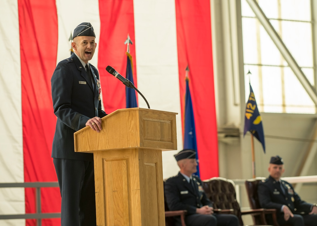 Brig. Gen. E. John Teichert, the outgoing 412th Test Wing Commander, gives his remarks during the Wing's Change of Command Ceremony at Edwards Air Force Base, California, Feb. 5. (Air Force photo by Giancarlo Casem)