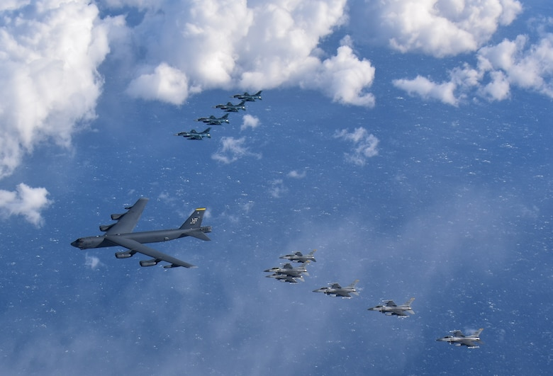 A U.S. Air Force B-52H Stratofortress from Minot Air Force Base, North Dakota, six F-16 Fighting Falcons and four Japan Air Self-Defense Force F-2s from Misawa Air Base, Japan, fly in formation off the coast of Northern Japan as part of a combined Continuous Bomber Presence and Bomber Task Force mission, Feb. 3, 2020. U.S. Strategic Command's bomber forces regularly conduct combined theater security cooperation engagements with allies and partners, demonstrating U.S. capability to command, control and conduct bomber missions around the world. (U.S. Air Force photo by Staff Sgt. Melanie A. Bulow-Gonterman)