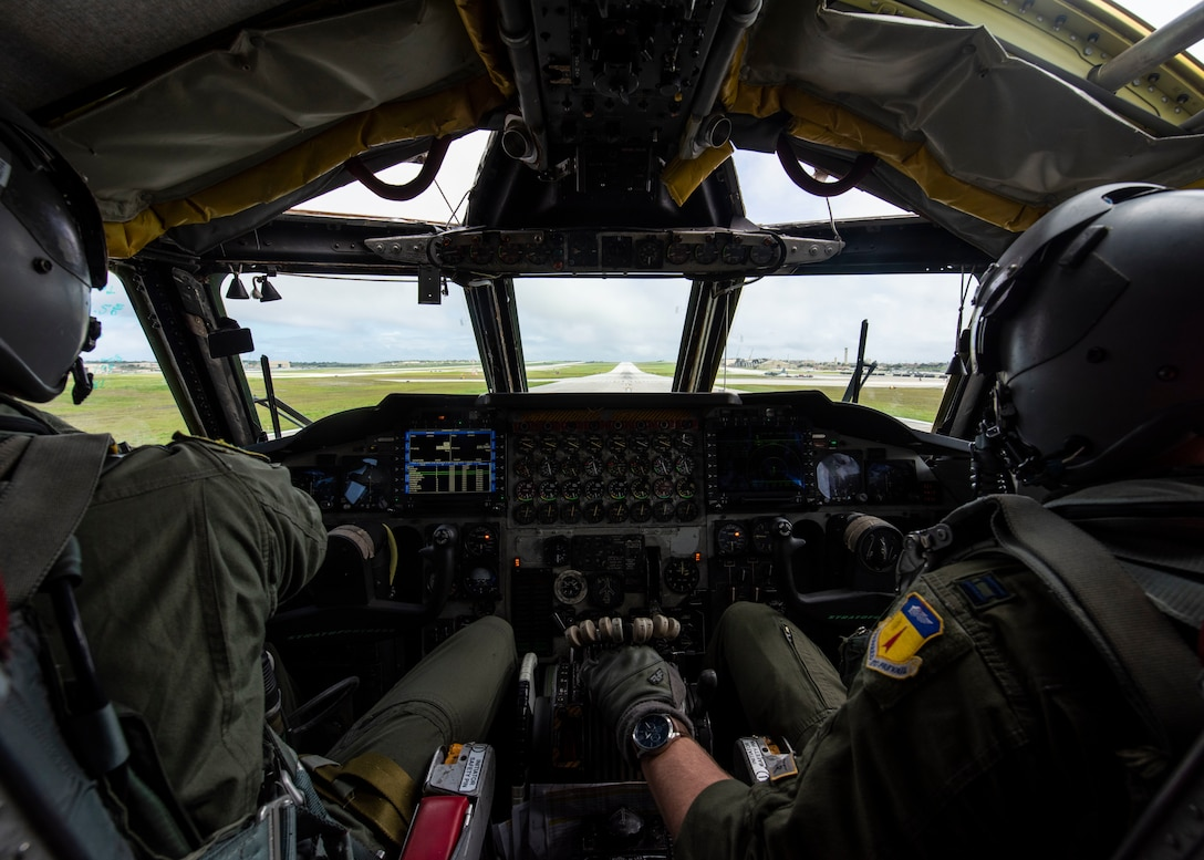 U.S. Air Force Capt. Wesley Fite, a 5th Operation Support Squadron pilot attached to the 69th Expeditionary Bomb Squadron, deployed from Minot Air Force Base, North Dakota, (left) and U.S. Air Force Capt. Patrick Mason, a pilot with the 69th Expeditionary Bomb Squadron (right), prepare for takeoff in a B-52H Stratofortress at Andersen Air Force Base, Guam, Feb. 3, 2020. U.S. Strategic Command has conducted bomber task force missions since 2014 as a demonstration of the U.S. commitment to collective security, and to integrate with Geographic Combatant Command operations. (U.S. Air Force photo by Senior Airman Zachary Neal)