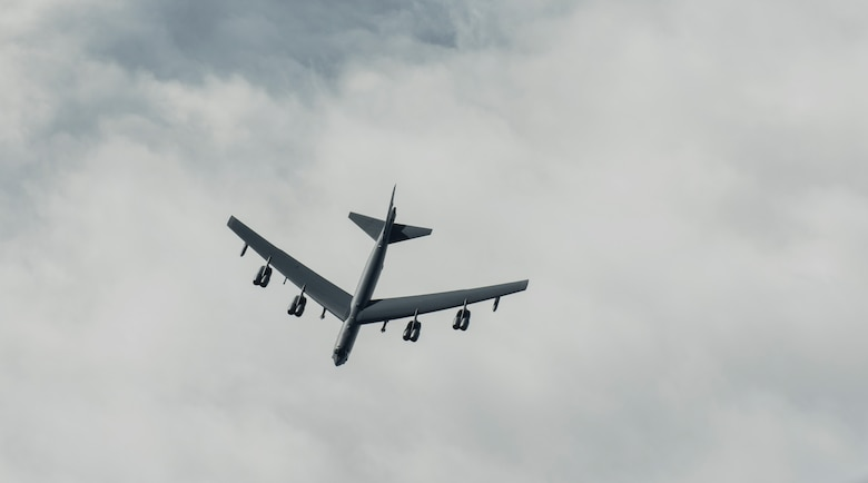 A U.S. Air Force B-52H Stratofortress, assigned to the 69th Expeditionary Bomb Squadron, deployed from Minot Air Force Base, North Dakota, flies over the Pacific Ocean during a training mission Feb. 3, 2020. Strategic bomber missions enhance the readiness and training necessary to respond to any potential crisis or challenge across the globe. (U.S. Air Force photo Airman 1st Class Helena Owens)