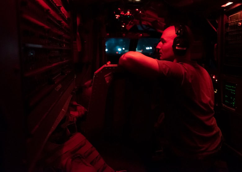 An Airman assigned to the 69th Aircraft Maintenance Squadron conducts a pre-flight inspection on a U.S. Air Force B-52H Stratofortress, assigned to the 69th Expeditionary Bomb Squadron, deployed from Minot Air Force Base, North Dakota, at Andersen Air Force Base, Guam, Feb. 3, 2020. Continuous Bomber Presence is a key component to improving both joint service and combined interoperability. (U.S. Air Force photo by Senior Airman Zachary Neal)