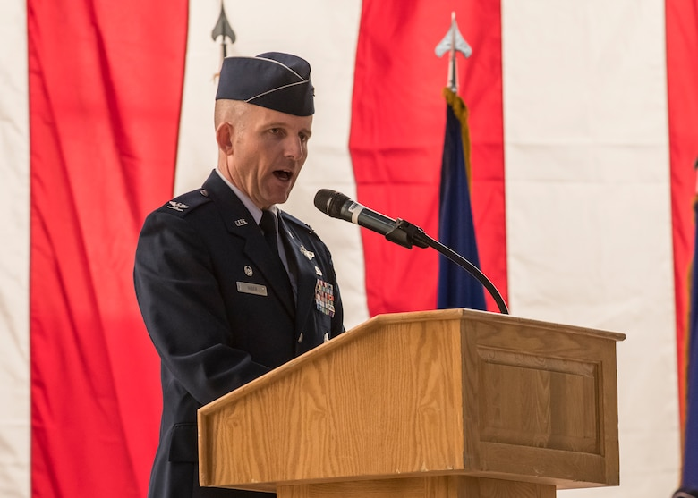 Col. Matthew Higer, the incoming 412th Test Wing Commander, gives his remarks during the Wing's Change of Command Ceremony at Edwards Air Force Base, California, Feb. 5. (Air Force photo by Giancarlo Casem)