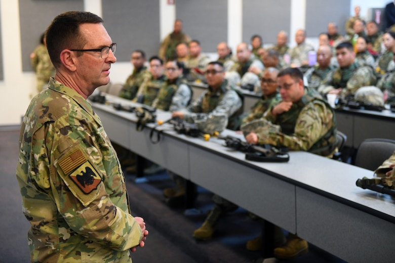 U.S. Air Force Gen. Joseph Lengyel, chief, National Guard Bureau, talks with members of the Red Horse Squadron serving with the Guam Air National Guard, Guam, Jan. 29, 2020. (U.S. Army National Guard photo by Sgt. 1st Class Jim Greenhill)