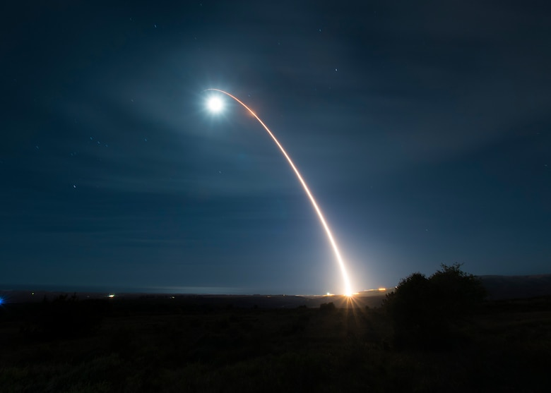 An unarmed Minuteman III intercontinental ballistic missile launches during a developmental test at 12:33 a.m. Pacific Time Wednesday, Feb. 5, 2020, at Vandenberg Air Force Base, Calif. (U.S. Air Force photo by Senior Airman Clayton Wear)