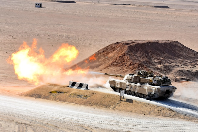 U.S. Soldiers in Alpha Company, 4-118th Infantry Regiment, 30th Armored Brigade Combat Team, in the South Carolina Army National Guard, conduct tank gunnery training while deployed in the Middle East, Feb. 4, 2020. The unit is deployed to support Operation Spartan Shield. (U.S. Army National Guard photo by Lt. Col. Cindi King)