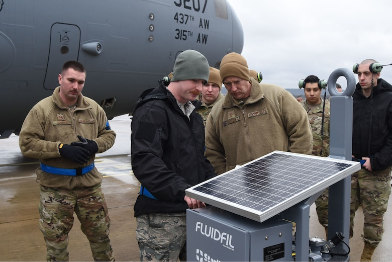 U.S. Air Force Maj. Gen. John Gordy, U.S. Air Force Expeditionary Center commander, views a solar powered aircraft battery cell on the flight line during a 521st Air Mobility Operations Wing visit at Ramstein Air Base, Germany, Jan. 29, 2020. During the tour the 721st Aircraft Maintenance Squadron highlighted the tools and personnel that are pivotal for mission success. The expeditionary center provides direct oversight for the global en-route system, which provides the U.S. with a worldwide, force-accelerating, power projection platform from 26 airfields across 23 countries.