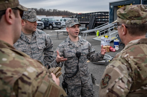 Capt. Jeffrey Janney, a member of the West Virginia National Guard's 35th Civil Support Team, gives feedback during a response rehearsal for the 2020 State of the Union Address on Feb. 3, 2020 at Joint Base Anacostia Bolling. The 35th CST is a joint-force unit comprised of the 130th Airlift Wing's CERF-P Detachment and Soldiers from the West Virginia Army National Guard, who's mission is to preposition at high-profile events in preparation to support civil authorities at domestic Chemical, Biological, Radiological, Nuclear or Explosive (CBRNE) incident sites. (U.S. Air National Guard Photo by Staff Sgt. Caleb Vance)