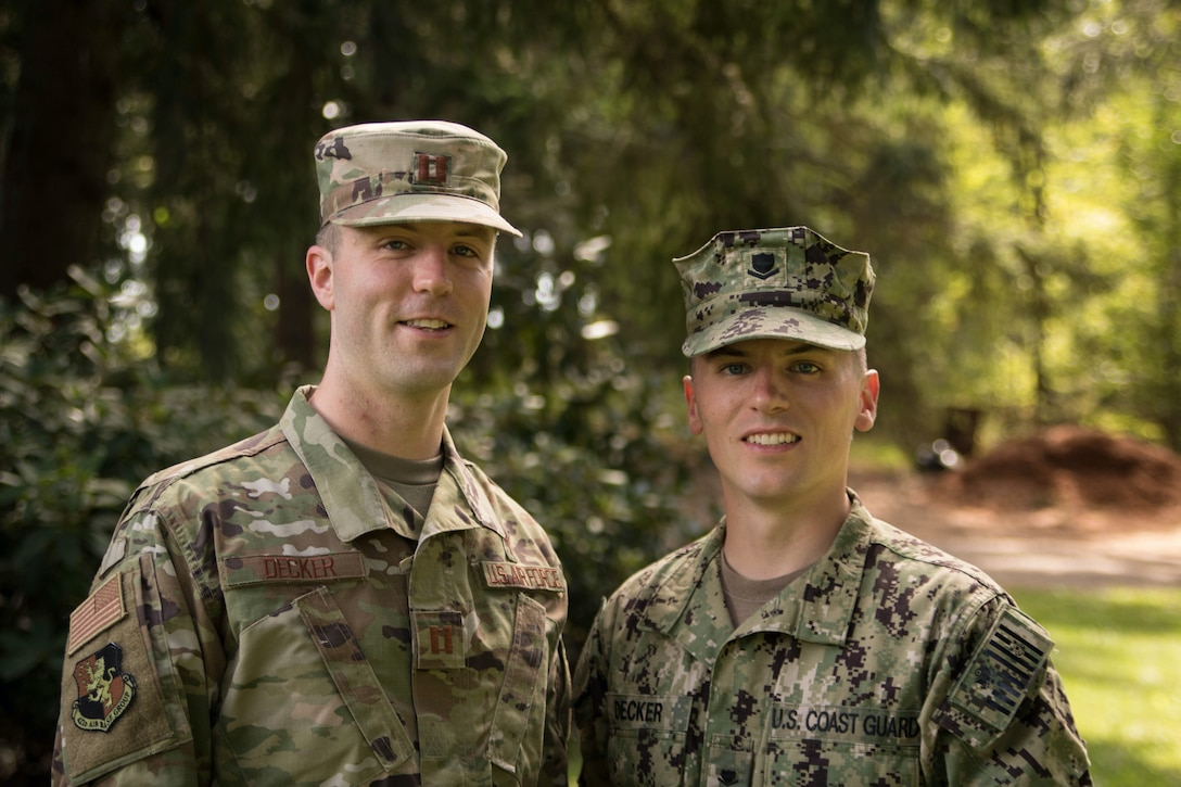 U.S. Air Force Capt. Hans Decker, 501st Combat Support Wing chaplain, poses for a photo with his brother, a U.S. Coast Guard reservist and a civilian sheriff's deputy in Oregon. (Courtesy photo)
