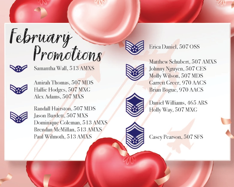 Promotions from the 507th Air Refueling Wing enlisted ranks Feb. 7, 2020, at Tinker Air Force Base. (U.S. Air Force graphic by Senior Airman Mary Begy)
