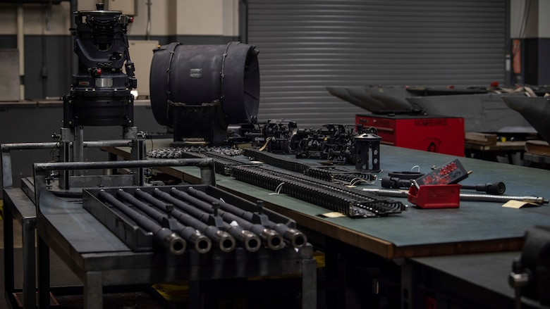 An M61A1 Vulcan gun system sits on a table for inspection at Misawa Air Base, Japan, Jan. 22, 2020. A quality verification inspection is a weeklong process consisting of 1,700 steps. Out of the 1,700 steps, it takes either three minor or one major discrepancy to fail an inspection. The back shop received no failures when it came to the quality verification inspections in 2019, which is a wing for the 35th Fighter Wing. (U.S. Air Force photo by Airman 1st Class China M. Shock)