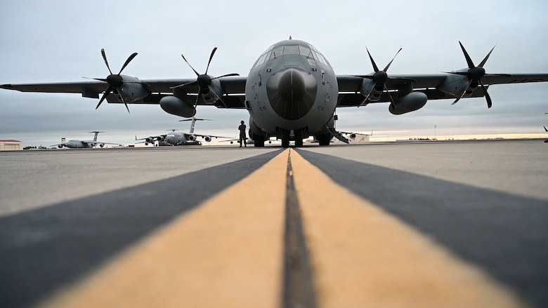 "A WC-130J Super Hercules aircraft from the 53rd Weather Reconnaissance Squadron sits on the flightline prior to an atmospheric river mission Jan. 28 at Travis Air Force Base, Calif. The Hurricane Hunters are slated to perform ""AR recon"" from January through March. Scientists led by Scripps Institution of Oceanography at University of California, San Diego, in partnership with the 53rd WRS, National Oceanic and Atmospheric Aviation's National Weather Service and Office of Marine and Aviation Operations, will be on standby to fly through these ARs over the Pacific to gather data to improve forecasts. (U.S. Air Force photo by Airman 1st Class Karla Parra)"