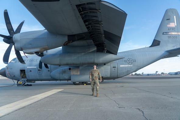 "Tech. Sgt. Victoria Kinman, 403rd Aircraft Maintenance Squadron crew chief, inspects the wings of a WC-130J Super Hercules aircraft from the 53rd Weather Reconnaissance on the flightline prior to an atmospheric river mission Jan. 27 at Travis Air Force Base, Calif. The Hurricane Hunters are slated to perform ""AR recon"" from January through March. Scientists led by Scripps Institution of Oceanography at University of California, San Diego, in partnership with the 53rd WRS, National Oceanic and Atmospheric Aviation's National Weather Service, Office of Marine and Aviation Operations, will be on standby to fly through these ARs over the Pacific to gather data to improve forecasts. (U.S. Air Force photo by Tech. Sgt. Christopher Carranza)"