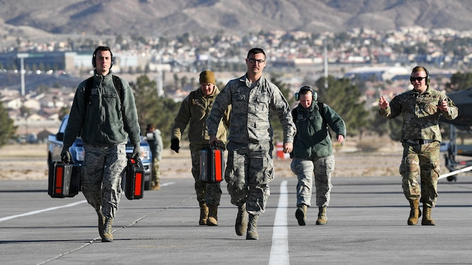 Photo of F-35A maintenance Airmen on the Nellis AFB flight line during Red Flag 20-1.