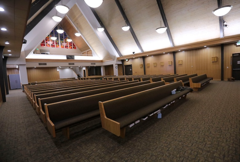 The sanctuary, which serves multiple faiths at Hill Air Force Base, is pictured.