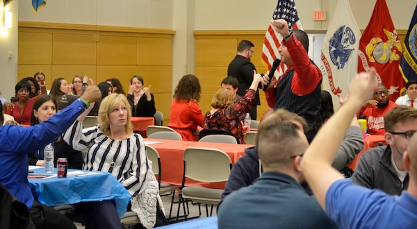 Medical and Industrial Hardware employees participate in a trivia-based event Feb. 5, 2020, at DLA Troop Support in Philadelphia.