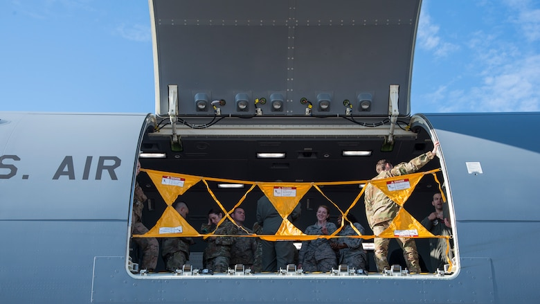 U.S. Air Force Airmen attend a tour of a KC-46 Pegasus aircraft assigned to McConnell Air Force Base, Kan., at MacDill Air Force Base, Fla., Jan. 29, 2020.