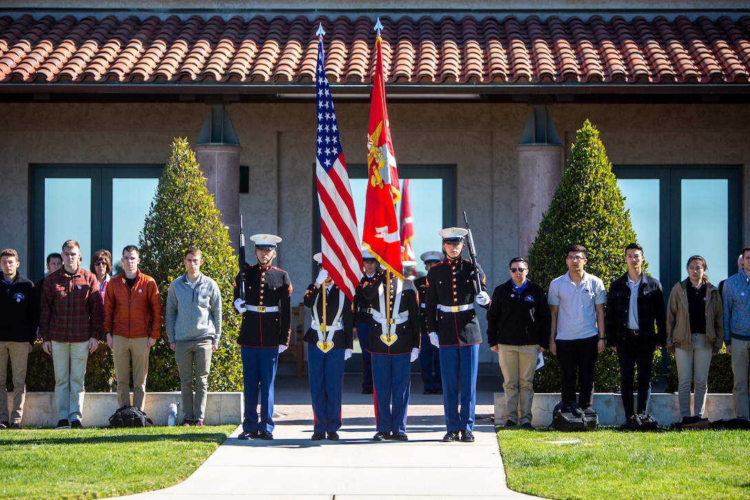 The Marine Corps Base Camp Pendleton Color Guard awaits the order to march on the colors during a wreath laying ceremony for the 109th anniversary of President Ronald Reagan's birthday at the Ronald Reagan Presidential Library in Simi Valley, California, Feb. 6.