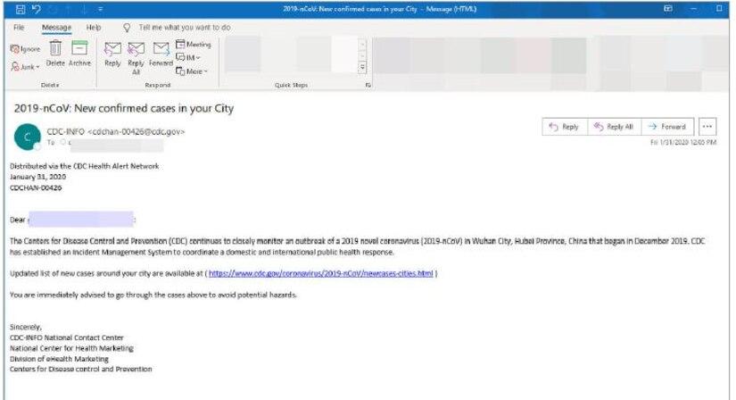 Graphic of a Coronavirus phishing email. (Courtesy graphic)