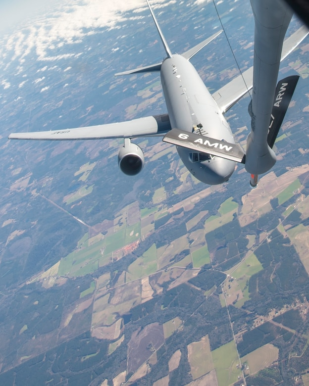 A KC-46 Pegasus assigned to McConnell Air Force Base, Kan., approaches a KC-135 Stratotanker assigned to MacDill Air Force Base, Fla., for a refueling, Jan. 30, 2020.