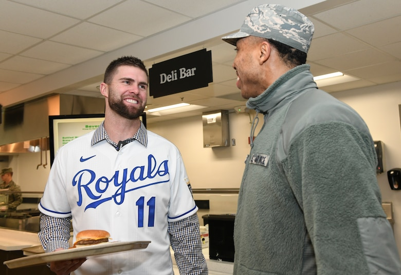 "Derek ""Bubba"" Starling, left, a Kansas City Royals outfielder, talks with U.S. Air Force Airman 1st Class Knejie Allen, right, a 509th Force Support Squadron food services technician, during his team's visit at Whiteman Air Force Base, Mo., Jan. 30, 2020. During the visit, KC Royals team members ate lunch with Airmen, toured a B-2 Spirit Stealth Bomber and participated in a meet and greet while learning about the Airmen and the jobs they perform. (U.S. Air Force photo by Staff Sgt. Sadie Colbert)"