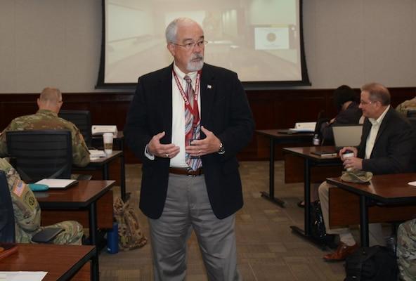 J.M. Harmon, deputy to the U.S. Army Medical Center of Excellence commanding general, addresses senior leaders during the Army Medicine Modernization 2028 Strategy SYNCH Feb. 6.