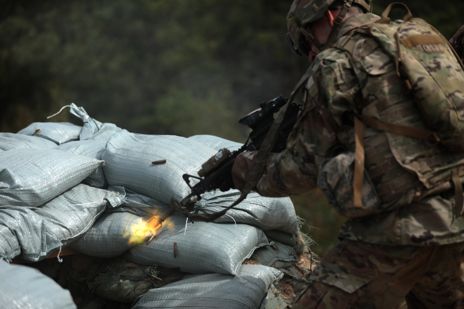 Infantryman with 3rd Battalion, 8th Cavalry Regiment, 3rd Armored Brigade Combat Team, 1st Cavalry Division, clears bunker September 25, 2019, during platoon live-fire training, Rodriguez Live Fire Complex, Republic of Korea (U.S. Army/Scott Kuhn)