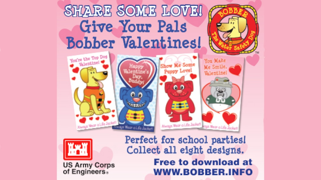 Share some love by giving your pals some Valentines Day cards from Bobber and his friends. Perfect for school parties--collect all eight designs with these free downloads from www.Bobber.info.