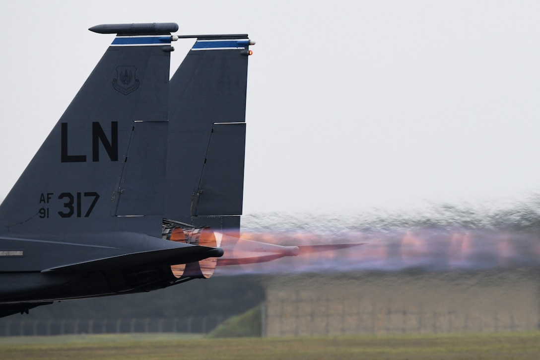 An F-15E Strike Eagle takes off