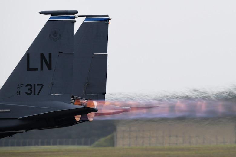 An F-15E Strike Eagle takes off