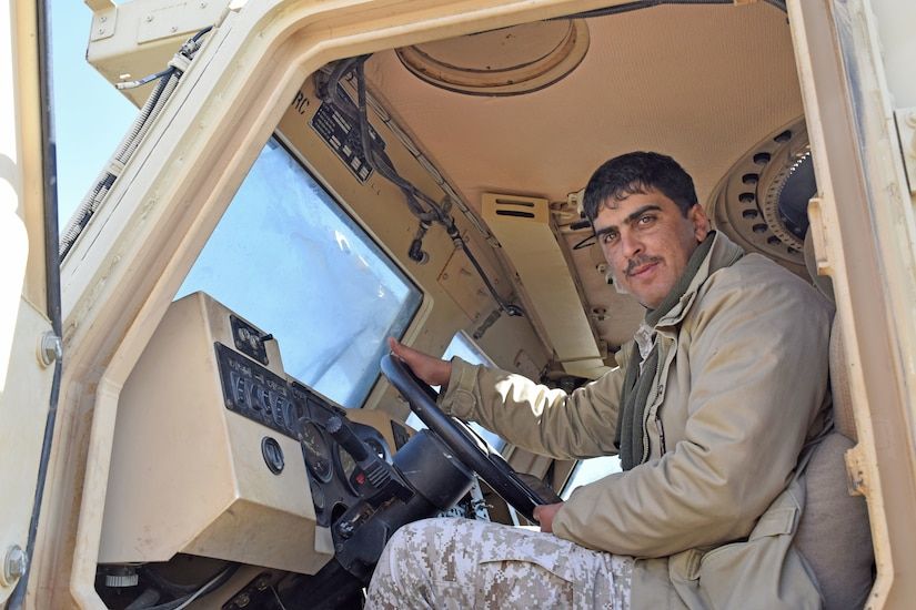 A Jordan Armed Forces-Arab Army (JAF) Soldier sits in the driver's seat of a Mine Resistant Ambush Protected Wheeled Armor Vehicle during a Subject Matter Expert Exchange with Military Engagement Team-Jordan, 158th Maneuver Enhancement Brigade, Arizona Army National Guard, at a base outside of Amman, Jordan in January. The U.S. military has a long-standing relationship with Jordan to support our mutual objectives by providing military assistance to the JAF consistent with our national interests. (U.S. Army photo by Sgt. 1st Class Elvis Sierra)