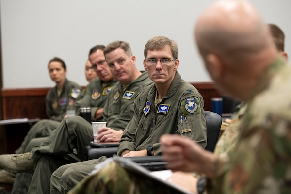 Col. Matthew Domsalla,12th Flying Training Wing vice commander, listens during a Total Force Integration briefing Feb. 4 at Joint Base San Antonio-Randolph, Texas. TFI works to improve integration between active-duty Air Force, Air Force Reserve, and the Air National Guard.(U.S. Air Force photo by Sabrina Fine)