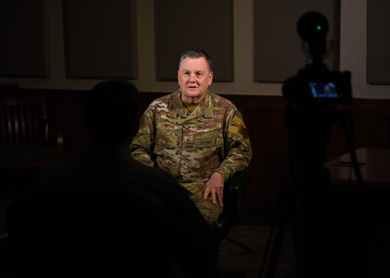 U.S. Air Force Lt. Gen. Brad Webb, commander of Air Education and Training Command, gives 17th Training Wing Public Affairs Airmen an interview discussing his two day immersion tour at Goodfellow Air Force Base Texas, Feb. 7, 2020. The AETC command visited the base to learn more about the wing's mission to train, develop and inspire exceptional intelligence, surveillance and reconnaissance and fire protection professionals for America and her allies. (U.S. Air Force photo by Airman 1st Class Ethan Sherwood)