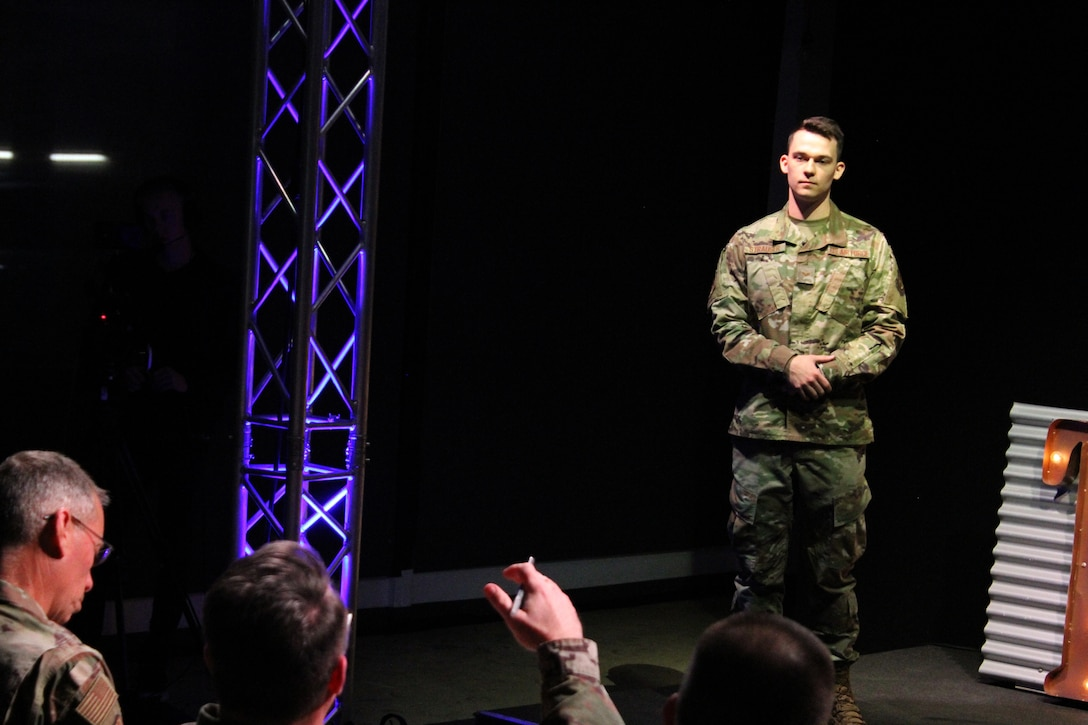 Senior Airman Tyler Strauser presents an idea for using augmented reality glasses to rapidly and efficiently locate utilities to senior leaders during the 2020 Air Force Installation and Mission Support Center Innovation Rodeo, Feb. 7, 2020, in San Antonio.
